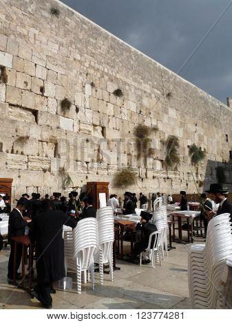 Jerusalem Israel - October 9 2009: The Western Wall Wailing Wall or Kotel