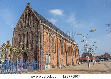 WINSCHOTEN, NETHERLANDS - MARCH 26, 2016: Reformed or Vitus church on the market square in Winschoten, Netherlands