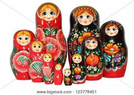 beautiful Russian matreshka doll on white background