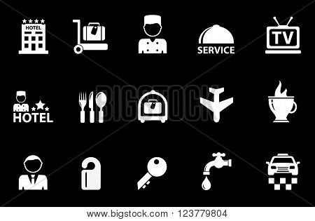 isolated hotel white objects on black background