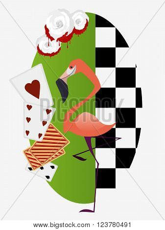 Alice in Wonderland. White roses with red paint flamingo croquet for the Royal. Vector illustration.