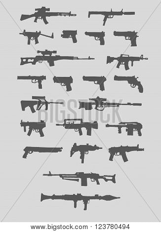 Set of weapons. Guns, rifles, machine gun. Silhouette. Isolated. Vector.
