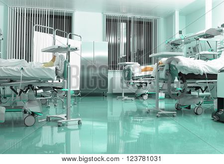 Well equipped medical ward in hospital at night