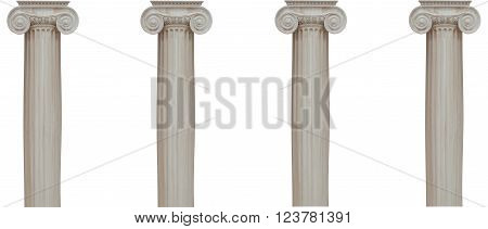 Columns With Ionic Capital Isolated