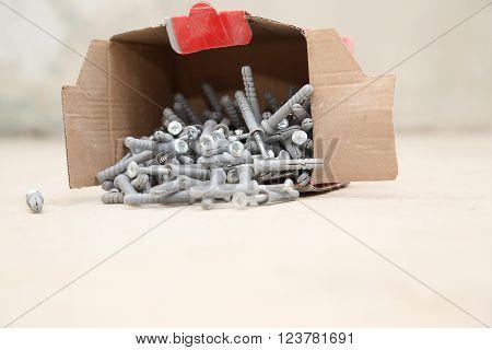 Carton Box Ful Of Screws With Wall Plugs