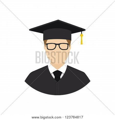 Graduate student. Avatar student. Student icon flat design style. Education graduation. Isolated student icon on a white background. Vector illustration. Web application printing.