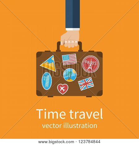 Travel Suitcase In Hand. Travel Suitcase With Stickers