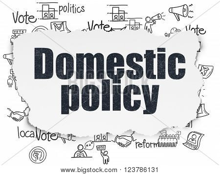 Politics concept: Domestic Policy on Torn Paper background