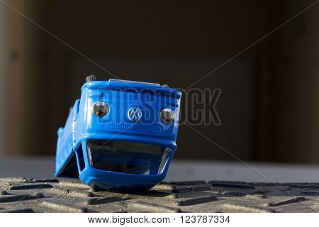 PRAGUE, CZECH REPUBLIC - MARCH 23: Illustrative photo of Volkswagen toy car for diesel engine emission scandal on March 23, 2016 in Prague, Czech republic.