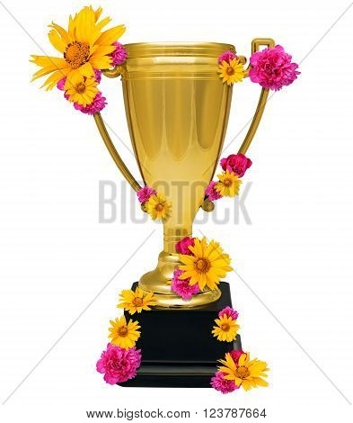 Golden cup trophy with flowers isolated on whitebackground