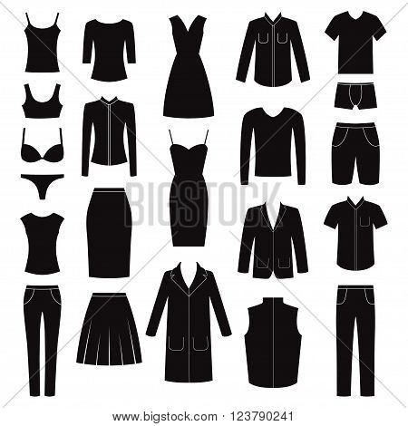Set of women and man clothes icons, vector illustration