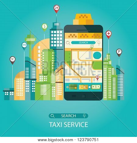 Vector Illustration Of Taxi Service, Taxi Mobile Application