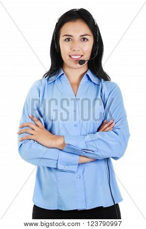 Stock image of a female call center operator isolated on white background