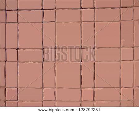 Pavement slabs vector texture with orange tiles