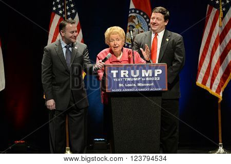 Saint Louis, MO, USA - March 11, 2016: Phyllis Schlafly; Conservative author and political activist endorses Donald Trump at the Peabody Opera House in Downtown Saint Louis