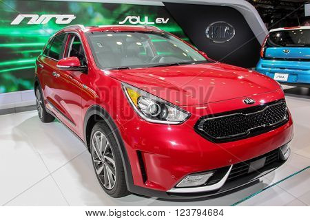 NEW YORK - MARCH 23: A KIA Soul Nira  at the 2016 New York International Auto Show during Press day,  public show is running from March 25th through April 3, 2016 in New York, NY.