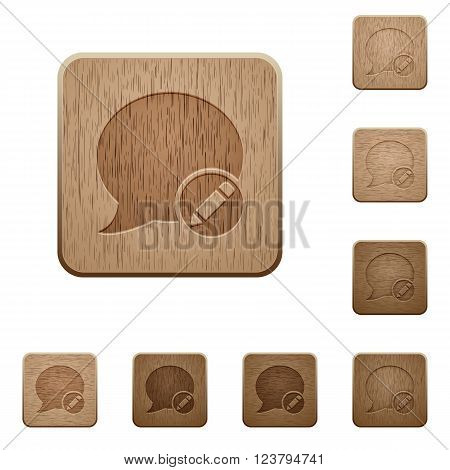 Set of carved wooden Moderate blog comment buttons in 8 variations.