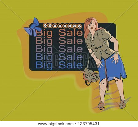 Woman on the background of the ad on a big sale