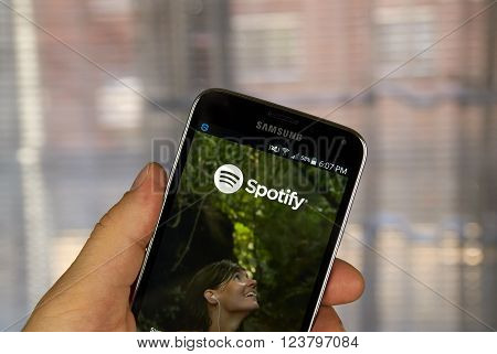 MONTREAL CANADA - MARCH 20 2016 - Spotify mobile application on Samsung S5's screen. Spotify is a digital music service