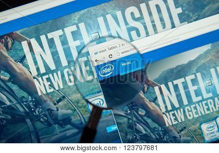 MONTREAL CANADA - MARCH 25 2016 - Intel internet page under magnifying glass. Intel Corporation is an American multinational technology company.