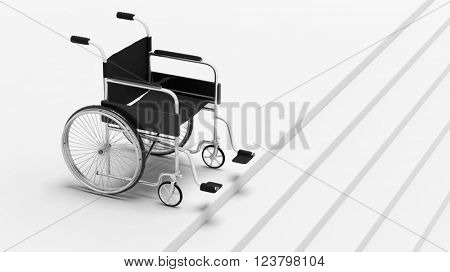Black disability wheelchair, in front of stairs, 3d rendering