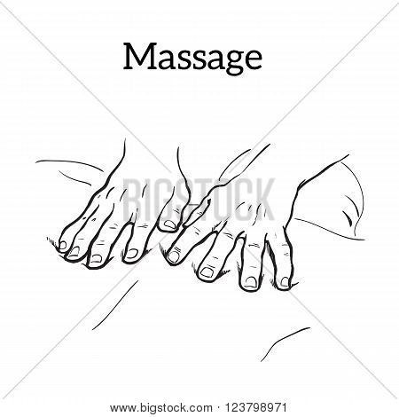 Hand massage, back massage, body massage. Types of massage. Set with image of massage. Hand massage. Massage therapy. Therapeutic manual massage. Relaxing therapy. Massage vector icons. Relaxation