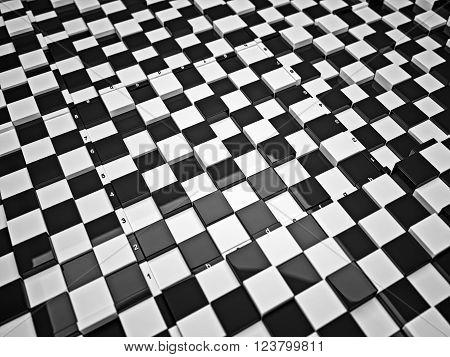 3d concept design of futuristic checkerboard. An empty board for chess in modern style.