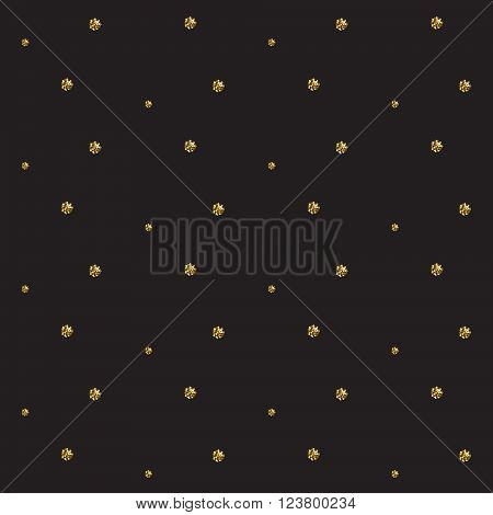 Gold foil glitter polkadot dark seamless pattern. Vector shimmer abstract circles grey texture. Sparkle shiny balls background.