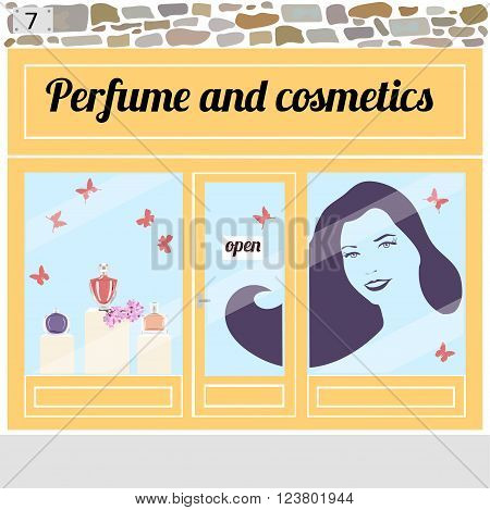Beauty shop. Perfume bottles in the shop window.Sticker of a young smiling woman with long hairs on the window. Vector illustration eps 10.