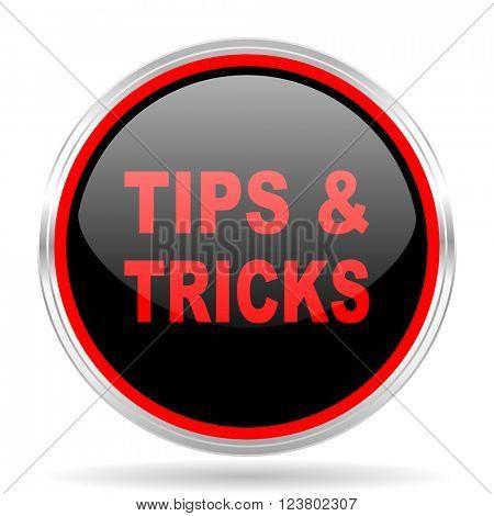 tips tricks black and red metallic modern web design glossy circle icon