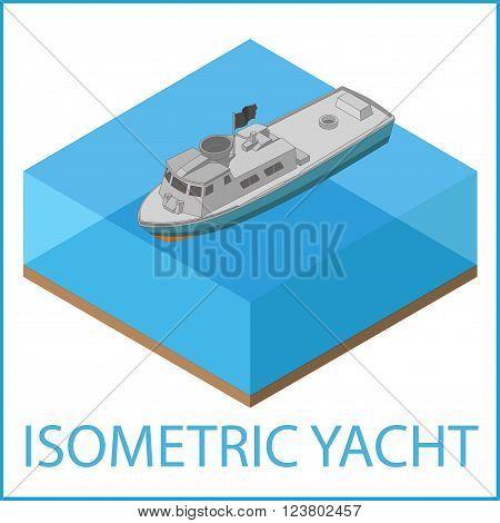 Motor Yacht Icon. Rowboat flat vector illustration. Motorized speedboat isometric. Motorboat isometric flat vector pictogram.