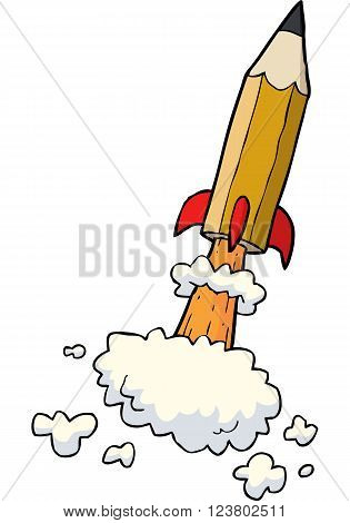 Cartoon pencil rocket on a white background vector illustration