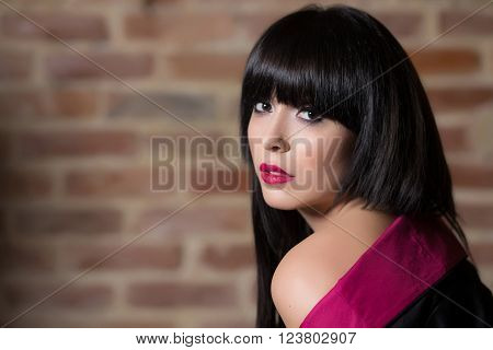 Fashion photo session with beautiful woman posing ** Note: Shallow depth of field