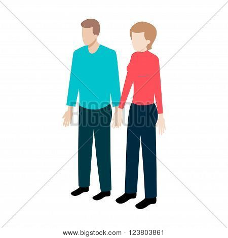 Couple of young people standing full face holding hands. Stock Vector Isometric-style games, infographics, reports, websites and icons