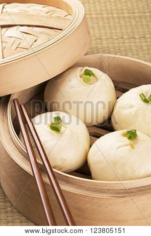 Traditional Chinese meal of baozi also known as dim sun
