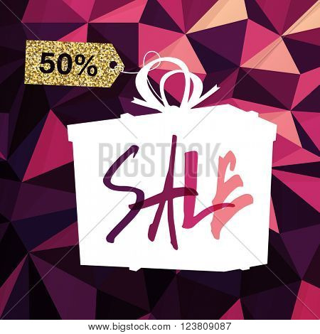 Sale banner on Low Poly Dark Pink Background. Sale template. Big sale. Super Sale and special offer. Triangular