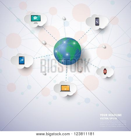 Social Network Infographics With Icons Set. Vector. Illustration.