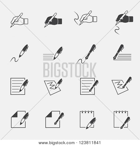 writing and document icon set . vector