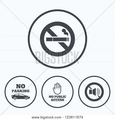 Stop smoking and no sound signs. Private territory parking or public access. Cigarette and hand symbol. Icons in circles.
