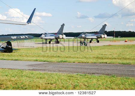 RADOM, POLAND - AUGUST 31: Dassault Rafale. International Air Demonstrations AIR SHOW 2009 August 31, 2009 in Radom, Poland.