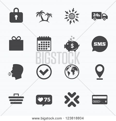 Calendar, go to web and like counter. Online shopping, e-commerce and business icons. Credit card, gift box and protection signs. Piggy bank, delivery and tick symbols. Sms speech bubble, talk symbols.