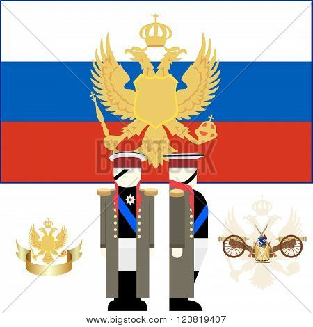 The coat of arms and the flag of Russia. Chief of the Russian army Kutuzov. The illustration on a white background.