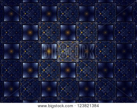 Abstract blue background - computer-generated image. Fractal background with grid, squares and circles. Repeating pattern wor web-design, covers, posters