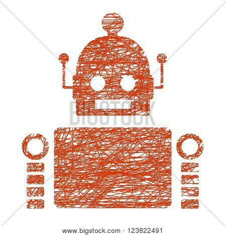 Cute vintage robot. Robotics industry relative image