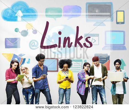Links Backlinks Hyperlink Linkage Internet Online Concept