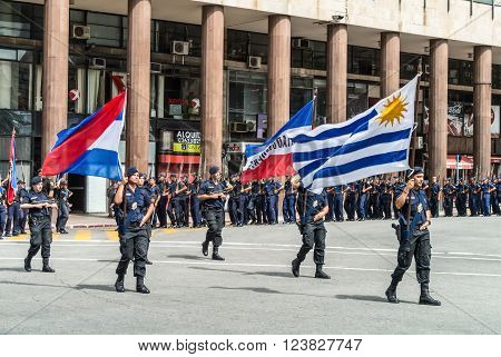 Montevideo, Uruguay - December 15, 2012: State Police march in the parade in Montevideo, Uruguay.