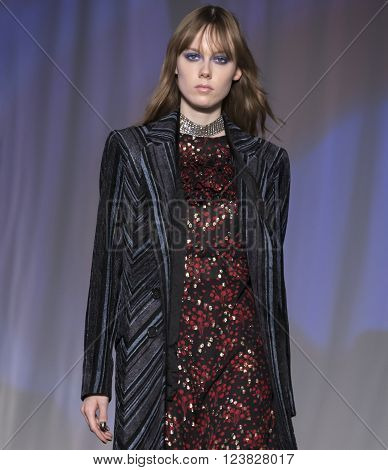 New York City USA - February 13 2016: Kiki Willems walks the runway during the Jill Stuart Women's show as a part of Fall 2016 New York Fashion Week
