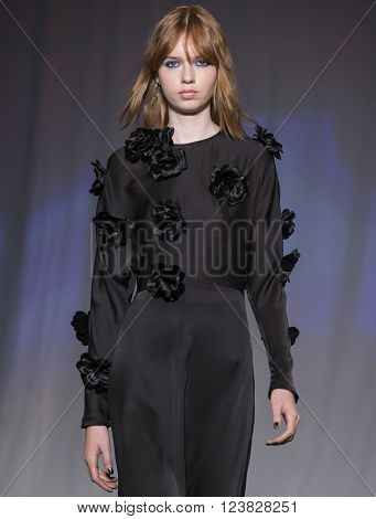 New York City USA - February 13 2016: Bruna Dapper walks the runway during the Jill Stuart Women's show as a part of Fall 2016 New York Fashion Week