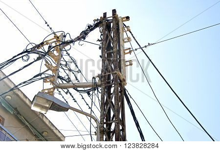 Electricity substation power lines and insulators, Greece