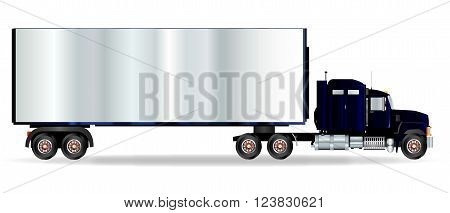The front end of a large lorry over a white background